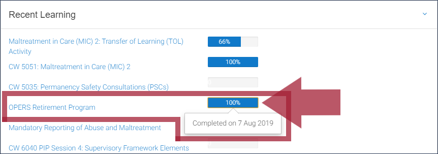 "The ""Recent Learning"" dashboard block, with a single course and "" ""100%"" progress bar highlighted, displaying the completion date message that appears when the progress bar is clicked"