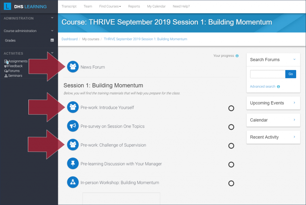 """Example DHS Learning course with three Forum activities highlighted: """"News Forum"""", """"Pre-work: Introduce Yourself"""", and """"Pre-work: Challenge of Supervision"""""""