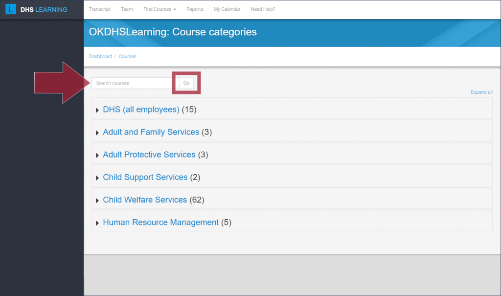 "DHS Learning course catalog page, with the ""Search courses"" field and ""Go"" button highlighted"