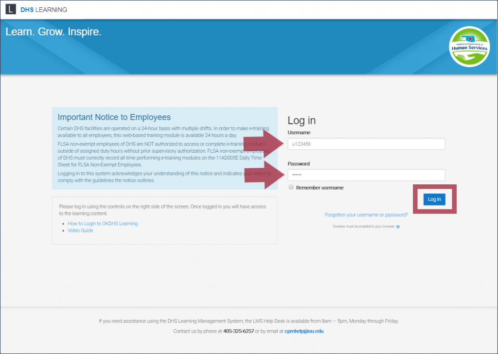 "The DHS Learning login page, highlighting the ""Username"" and ""Password"" fields and the ""Log In"" button"