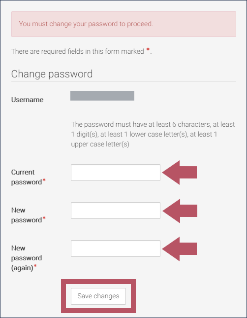 "The DHS Learning Change Password block, displaying the message, ""You must change your password to proceed"", with the ""Current password"", ""New password"", ""New password (again)"" fields and ""Save changes"" button highlighted"