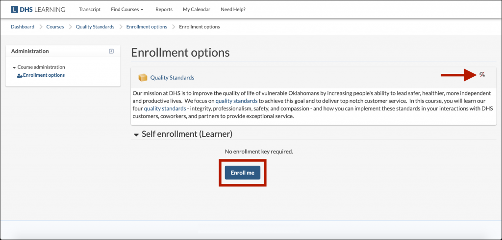 "Example DHS Learning ""Enrollment options"" page, with the ""Enroll me"" button highlighted"