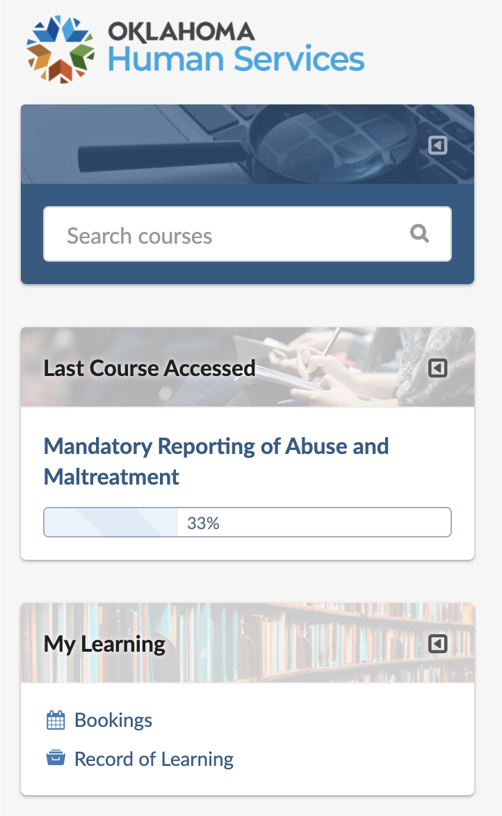 "Left-side dashboard panel: Search courses block, Last Course Accessed block, My Learning block (including ""Bookings"" and ""Record of Learning"" links)."