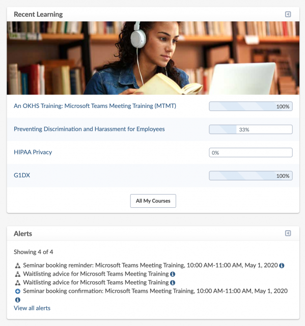 Center dashboard panel: Recent Learning block (including a list of courses and progress), Alerts block (including a Seminar booking reminder, Seminar booking confirmation, and two Waitlist notices).