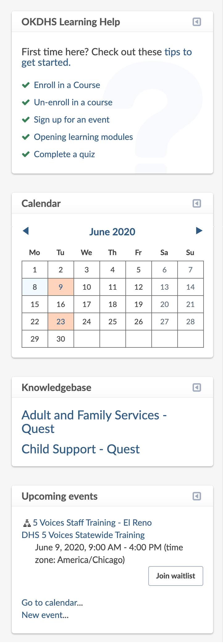 "Right-hand dashboard panel: OKDHS Learning Help block (including links to help articles), Calendar block (including several dates highlighted), Knowledgebase block (including links to Quest sites), and Upcoming events block, including an event with ""Join waitlist"" button."