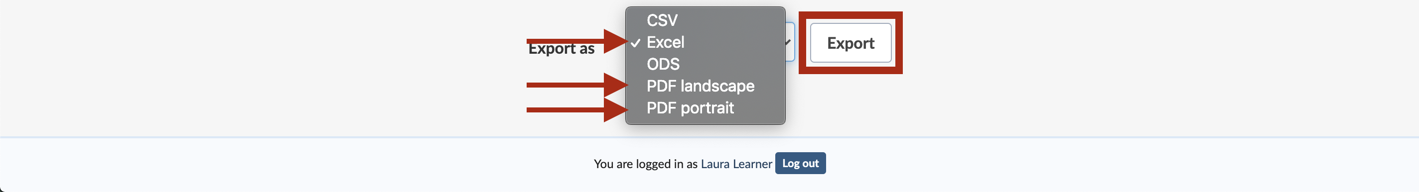 "DHS Learning transcript page, with the ""Export as"" dropdown menu expanded, and with the Excel/PDF landscape/PDF portrait options and ""Export"" button highlighted"