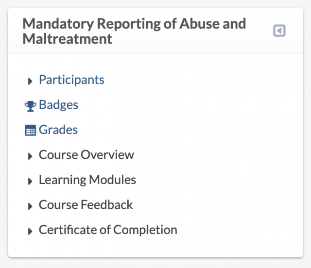 Example course-specific Navigation block, displaying Participants, Badges, Grades, and course section links (Course Overview, Learning Modules, etc.).